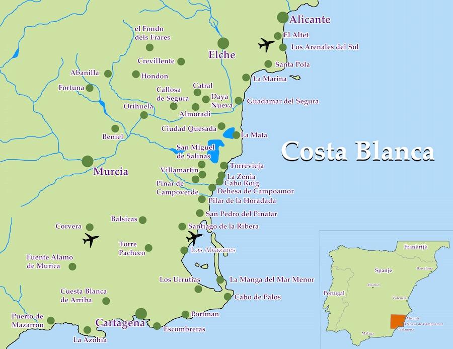 kaart map costa blanca zuid