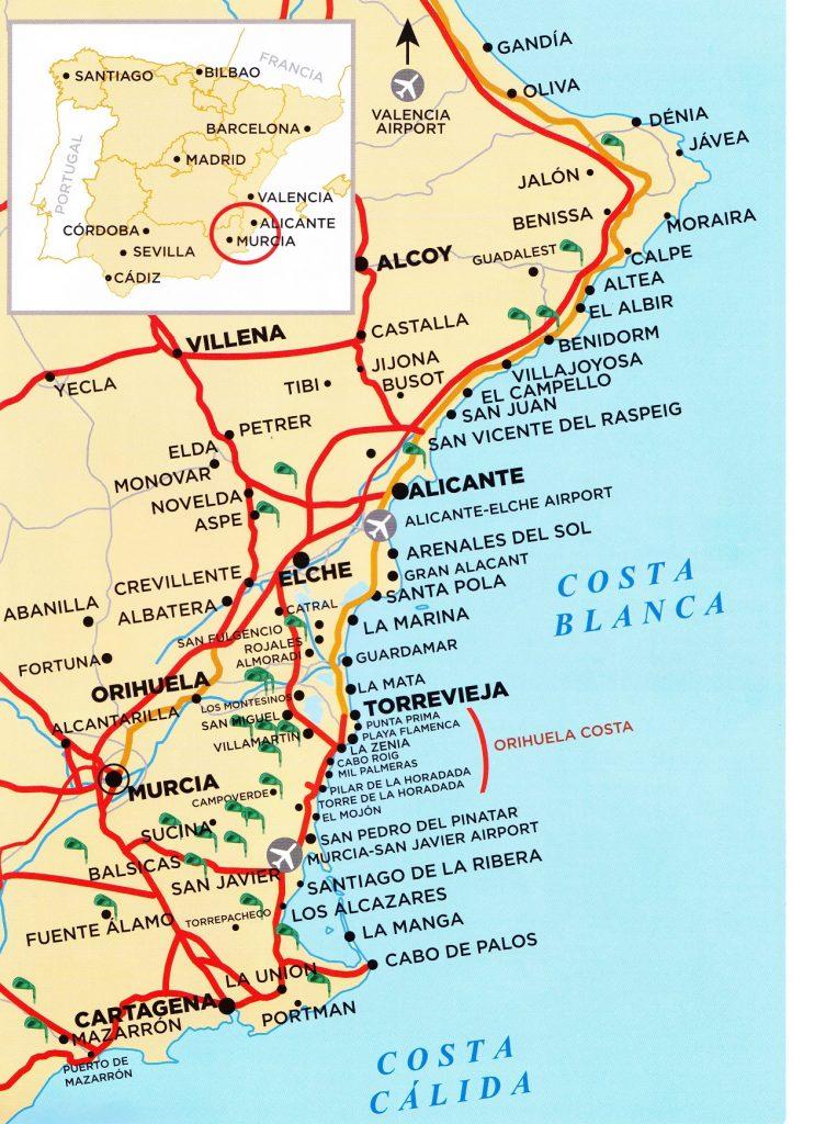 kaart map costa blanca